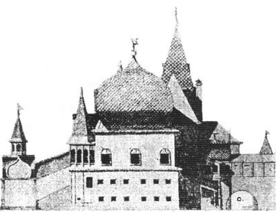 Рис. 85. Северо-восточный фасад коломенских хором. По И. Забелину.