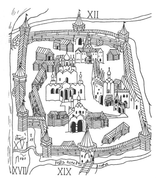 Рис. 113. По плану Тихвинского монастыря. Древнерусские деревянные фортификационные сооружения. Русское деревянное зодчество. Михаил Красовский