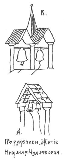 Рис. 165. Примитивные приспособления для подвешивания колоколов. Русское деревянное зодчество. Михаил Красовский