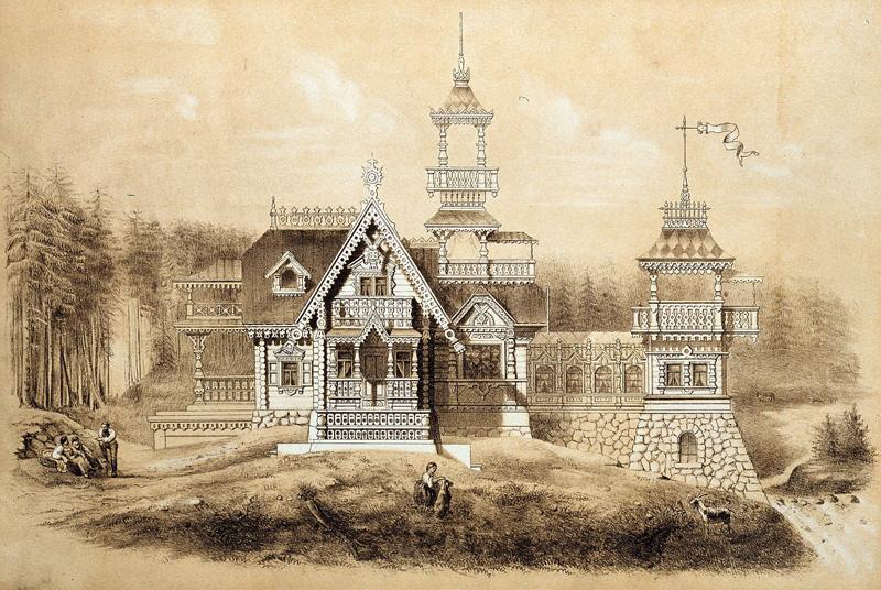 Загородный дом. Русское деревянное зодчество. Альбом «Мотивы русской архитектуры». 1874 год