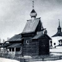 Церковь Ризположения из с. Бородава Вологодской обл. 1485 г. Перенесена в Кирилло-Белозерский монастырь. Фото М. М. Чуракова